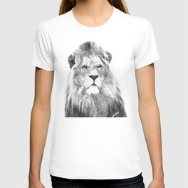 Black and white lion animal portrait T-shirt