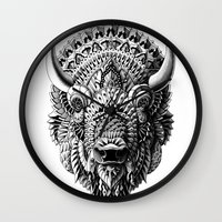 bioworkz Wall Clocks featuring Bison by BIOWORKZ