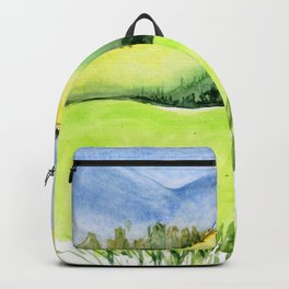 Green hills and field with cow and blue sky Backpack