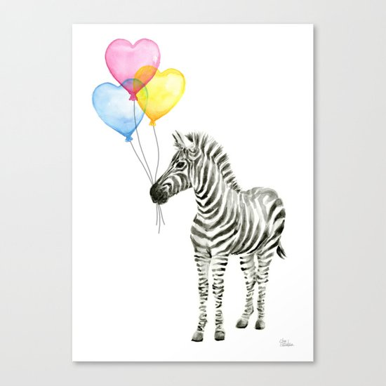 Zebra Watercolor With Heart Shaped Balloons Whimsical Baby Animals Canvas Print
