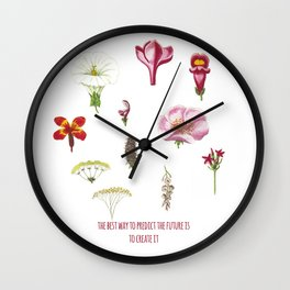 The best way to predict the future is to create it- Inspirational Quote + Vintage Illustration  Wall Clock