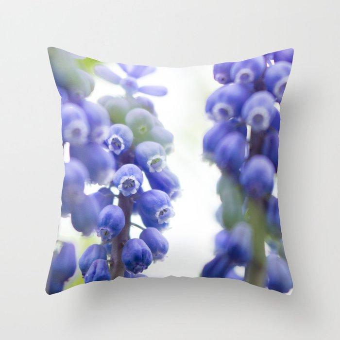 Peek-a-Blue Grape Hyacinth Throw Pillow