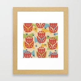Mid Century Modern Butterfly Garden 201 Framed Art Print