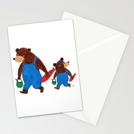 Papa Bear and Little Bear Going for a Picnic - Children's Illustration Stationery Cards