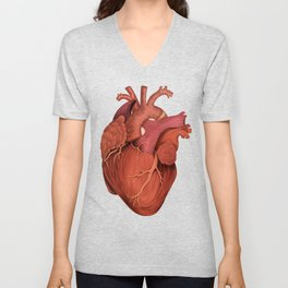 Anatomical Human Heart - Peach/Pink Version Unisex V-Neck