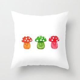 funny mushroom watercolor painting Throw Pillow