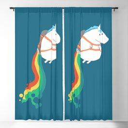 Fat Unicorn on Rainbow Jetpack Blackout Curtain