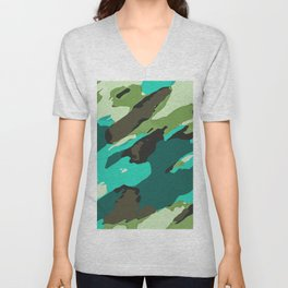 green blue and brown painting abstract background Unisex V-Neck