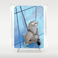 """sloths Shower Curtains featuring Sloths Are Bad At Things- Xander the Window Washer!  by Megan """"Tillette"""" Jones"""