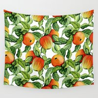vegetarian Wall Tapestries featuring Ripe apples by Julia Badeeva