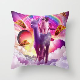 Cosmic Cat Riding Alpaca Unicorn Throw Pillow
