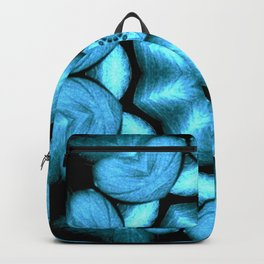 Blue Green Heart Mandala Kaleidoscope Pattern Backpack