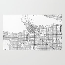 Vancouver Map White Rug