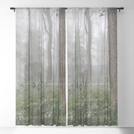 Smoky Mountain Summer Forest III - National Park Nature Photography Sheer Curtain
