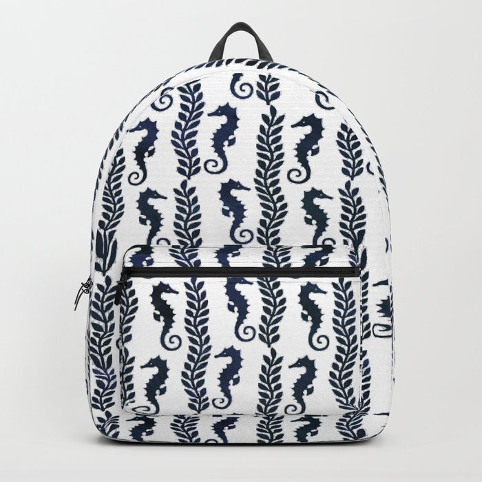 Navy blue and white maritime seahorse pattern Backpack