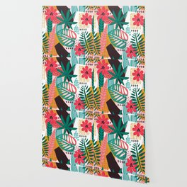 Matisse Inspired Pop Art Tropical Fun Jungle Pattern Wallpaper