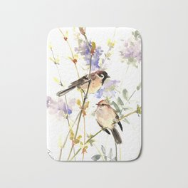 Sparrows and Spring Blossom Bath Mat