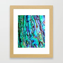 Glowing Aqua Abalone Shell Mother of Pearl Framed Art Print