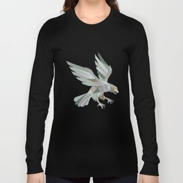 Peregrine Falcon Swooping Grey Low Polygon Long Sleeve T-shirt