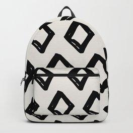 Modern Diamond Pattern Black on Light Gray Backpack