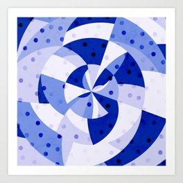 Polka Dots Blue Geometric Design Art Print