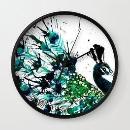 Peacock profile ink splatter Wall Clock