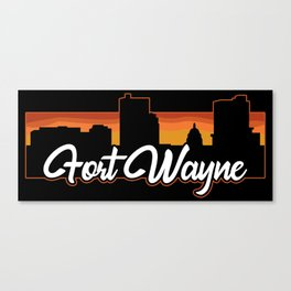 Vintage Fort Wayne Indiana Sunset Skyline T-Shirt Canvas Print