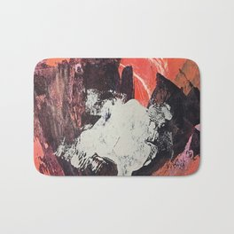 Amazon [2]: a bright, colorful, abstract piece in orange, red, deep purple, and light blue Bath Mat