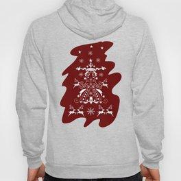 Retro damask christmas tree with reindeer Hoody