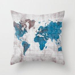 world map 96 blue #worldmap #map Throw Pillow