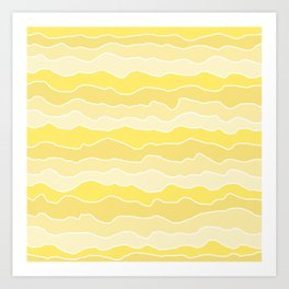 Four Shades of Yellow with White Squiggly Lines Art Print