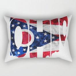 Ohio Typographic Flag Map Art Rectangular Pillow