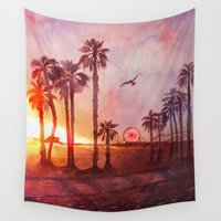 santa monica Wall Tapestries featuring Sunset in Santa Monica by Kate Tova