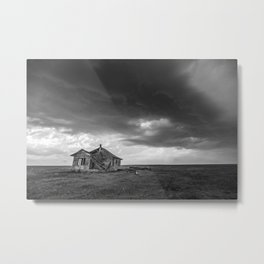 Sweeping Down the Plains - Abandoned House and Storm in Oklahoma Metal Print