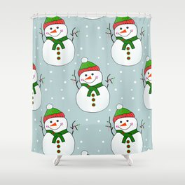 Christmas Snowman Pattern  -  Merry Christmas Shower Curtain