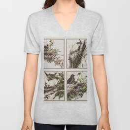 Christmas Card Depicting Birds and Nests (1865-1899) by L Prang  Co Unisex V-Neck