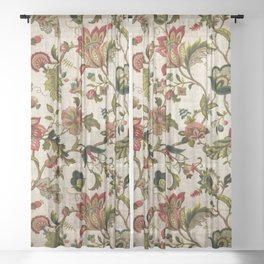 Red Green Jacobean Floral Embroidery Pattern Sheer Curtain