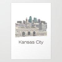 Art Print featuring Hand Drawn Kansas City Skyline by itsrturn