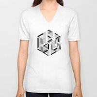 hexagon V-neck T-shirts featuring Hexagon monochrome by eDrawings38