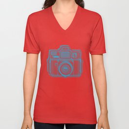 I Still Shoot Film Holga Logo - Blue & Red Unisex V-Neck
