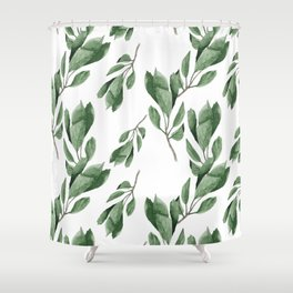 Cherry green leaves pattern Shower Curtain