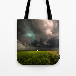 May Thunderstorm - Twisting Storm Over House in Colorado Tote Bag