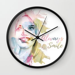Always smile! Hand-painted portrait of a woman in watercolor. Wall Clock
