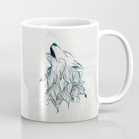 wolf Mugs featuring Wolf by LouJah