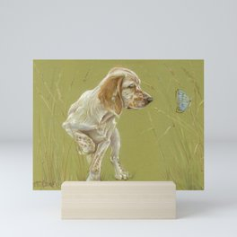 The First Spring Butterfly English Setter Puppy Pastel Drawing on green background Mini Art Print