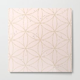 peach speckled with rose gold geometry pattern Metal Print