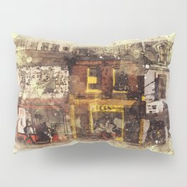 NYC Brooklyn Soho Watercolor Painting street rustic abstract contemporary wall art home decor Pillow Sham