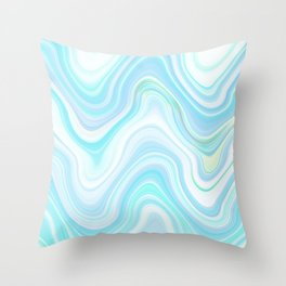 Cool Pastel Blue Lava Marble  #marble #society6 #abstractart Throw Pillow