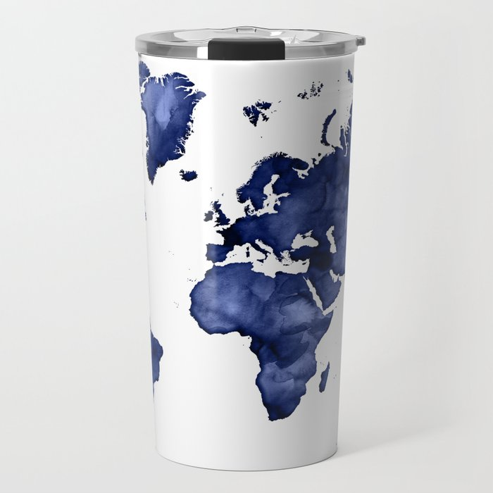 Dark navy blue watercolor world map travel mug by blursbyaishop dark navy blue watercolor world map travel mug gumiabroncs Choice Image