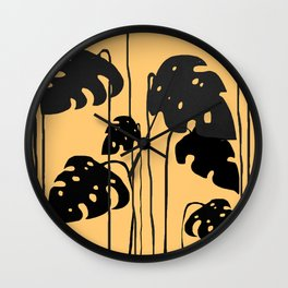 gold and black leaves Wall Clock